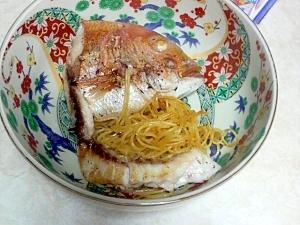 昆布旨味鯛とスパゲティーの炒め物