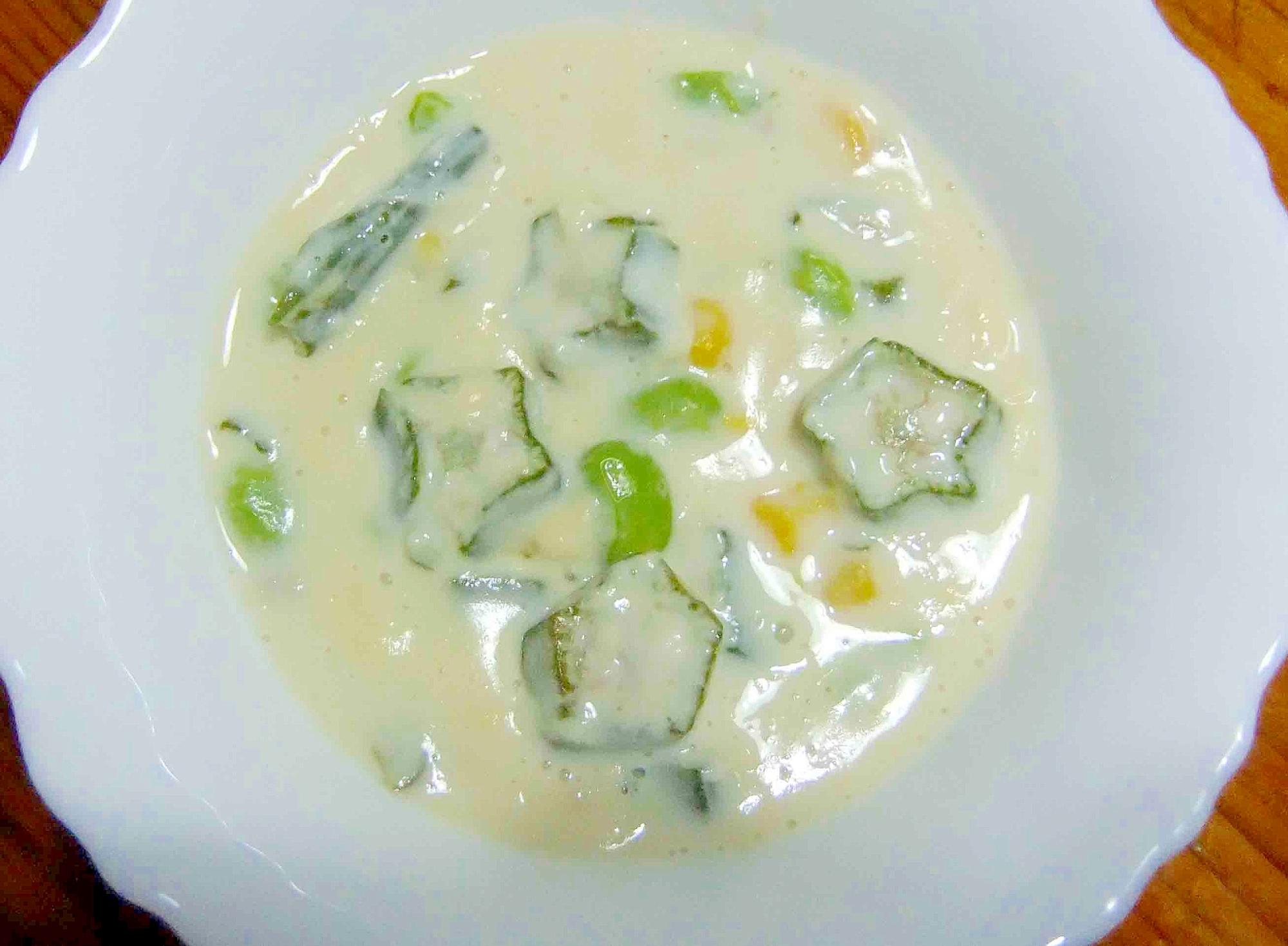 5. 豆乳でコク旨「オクラと豆乳のスープ」
