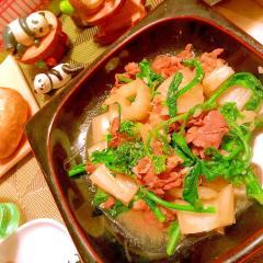 菜の花とセロリとラム肉のオイスター炒め