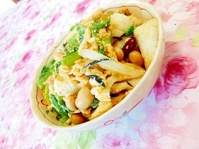 小松菜と竹輪とサラダに!まめのマヨ生姜の卵とじ