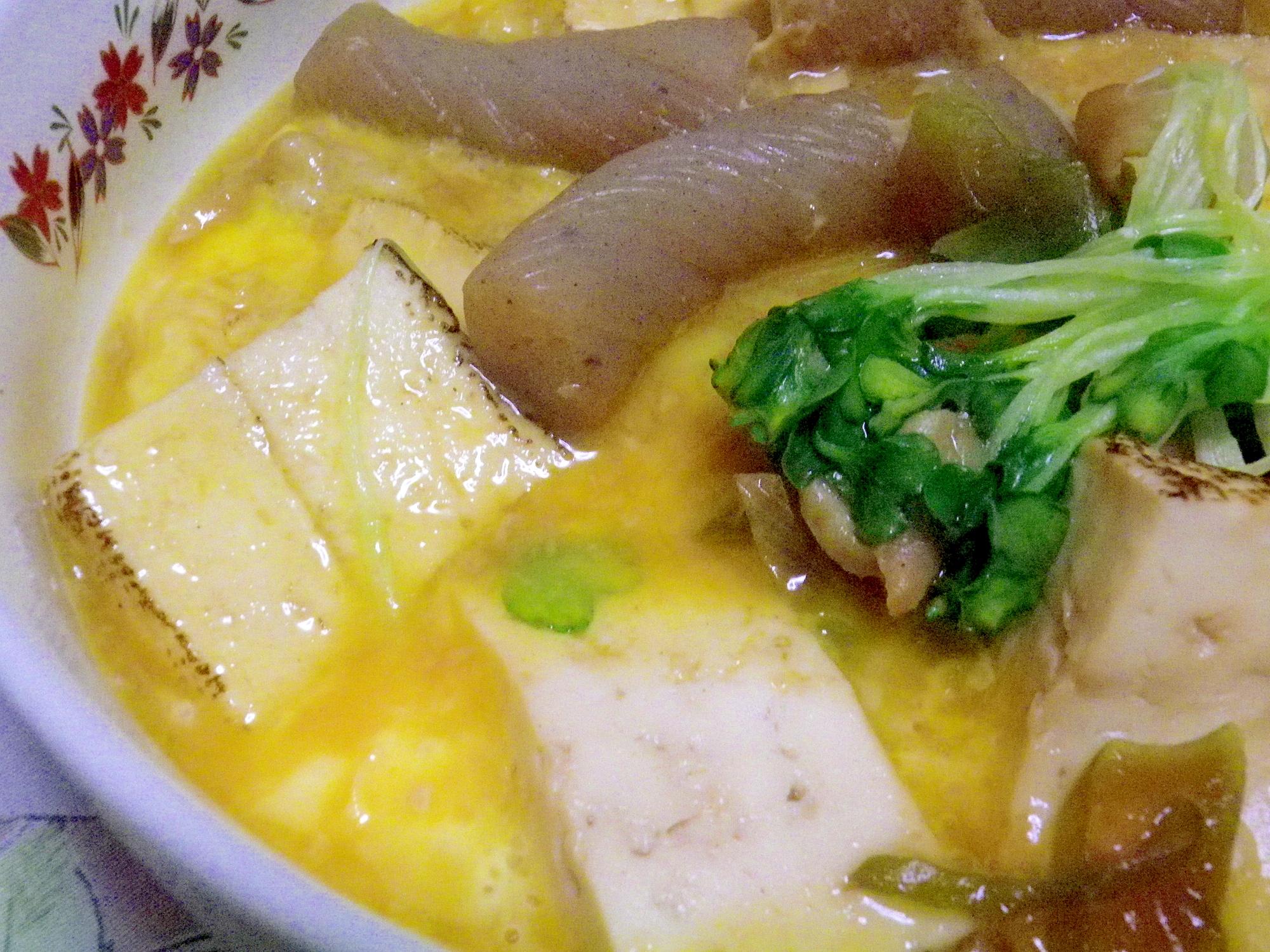 鶏皮と焼き豆腐のすき焼き風
