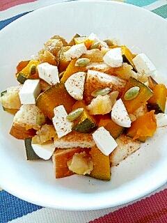【お手伝いレシピ】かぼちゃと栗のチーズケーキ風♪