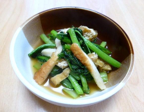 小松菜、油揚げ、ちくわの炒め物