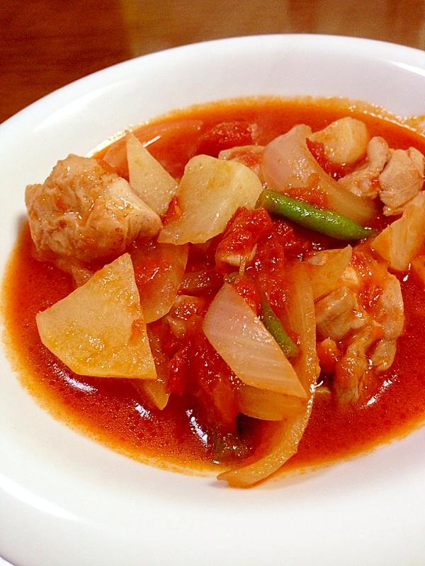 3. トマト缶で!かぶと鳥もも肉の煮込み