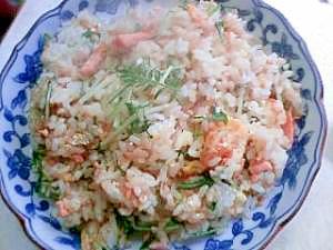 ※※余った鮭と水菜の炒飯※※