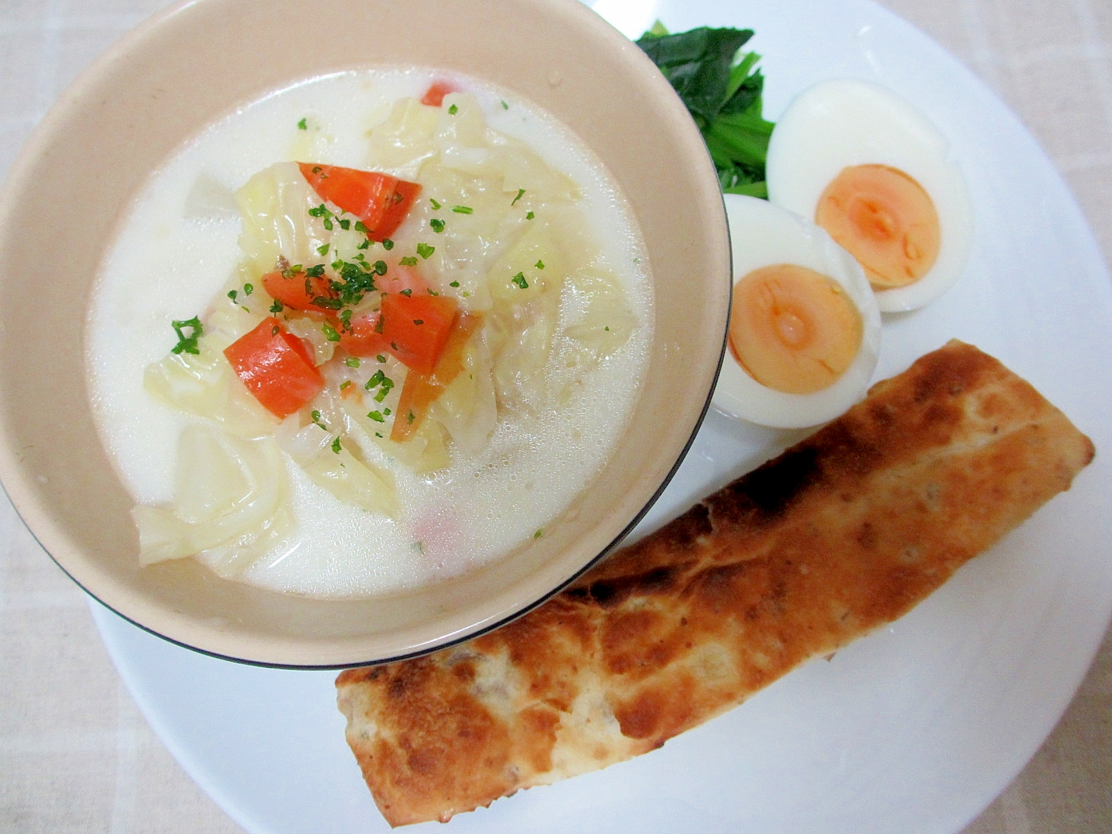 ポトフの豆乳スープ朝パンプレート