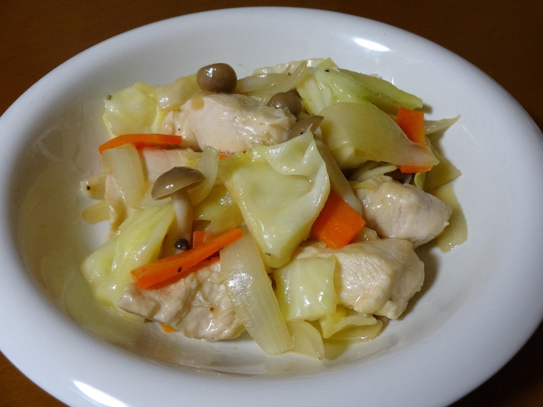 鶏肉と野菜の辛子ポン酢炒め