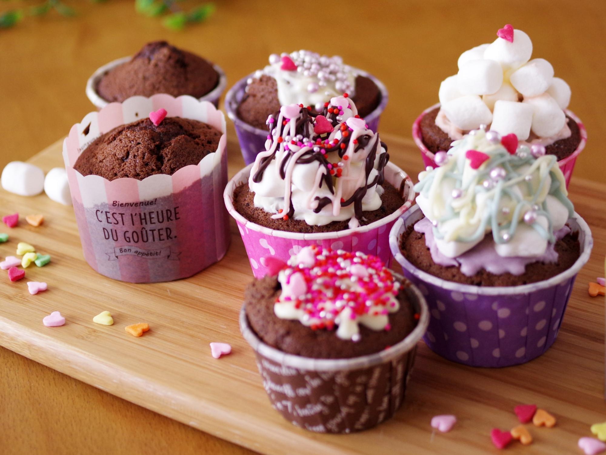 ダブルチョコのカップケーキでバレンタイン☆簡単HM レシピ・作り方 by めろんぱんママ@めろんカフェ|楽天レシピ