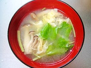 しめじとみつ葉のかき玉味噌汁