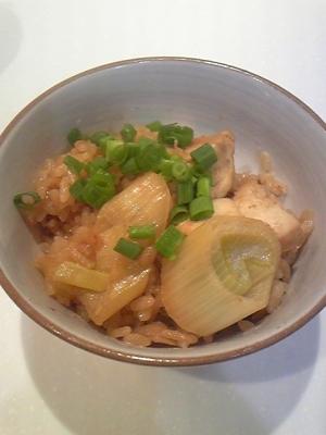 ネギが甘~い♪長ネギと鶏肉の炊き込みご飯