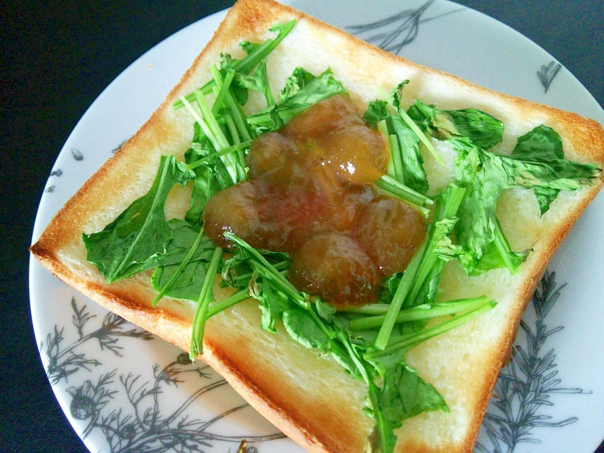 ルッコラとぶどうジャムのトースト
