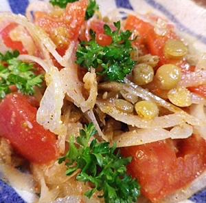 レンズ豆とトマトのスパイシーサラダ