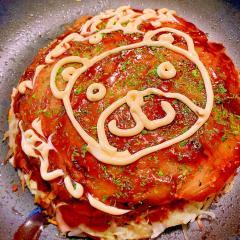 熊肉カス入り(๑・㉨・๑)広島風お好み焼き