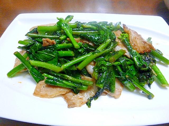 菜の花と豚バラ肉のオイスターソース炒め