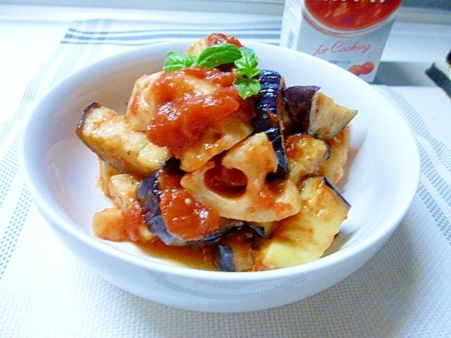 茄子とレンコンも合うね、トマトソース和え