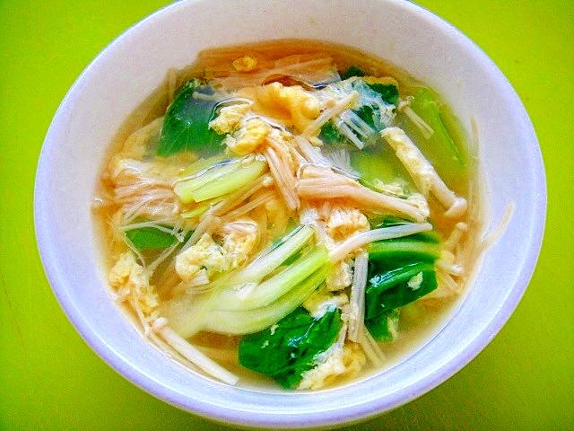 チンゲン菜とえのき卵のあっさりスープ