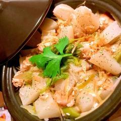 大根&セロリと鶏手羽トロ肉の塩漬レモンタジン