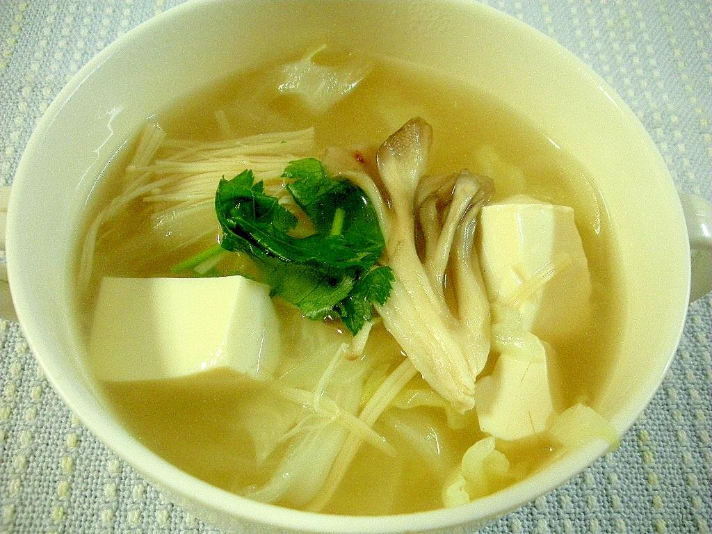 豆腐とキャベツとまいたけの中華風スープ