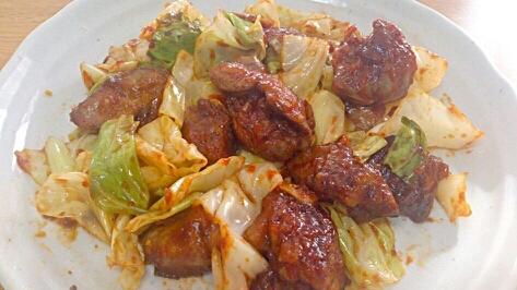 貧血予防!鶏レバーとキャベツの炒め物