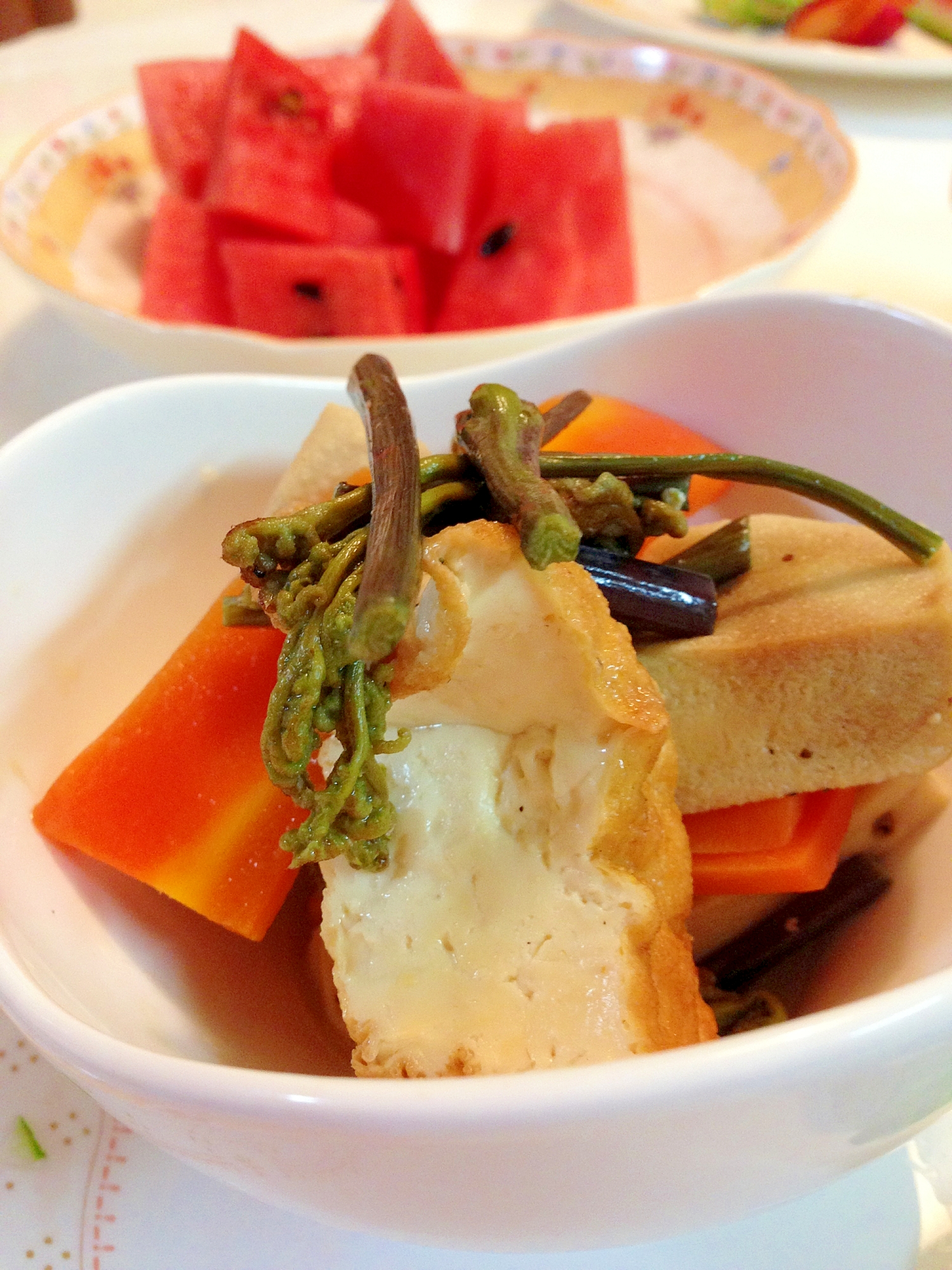 カルシウムたっぷり厚揚げ、高野豆腐、ぜんまいの煮物