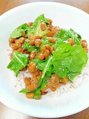 納豆の食べ方-ルッコラ♪