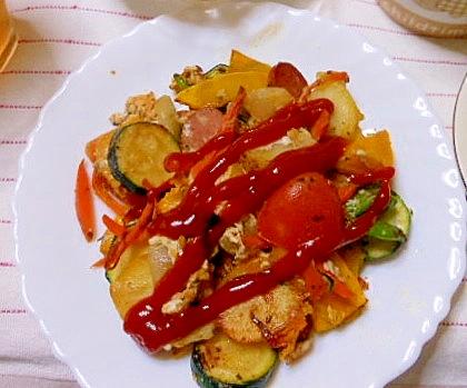 野菜を沢山食べられる、夏野菜の卵とじ