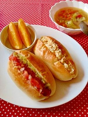 *朝食に♪ホットドッグ&たまごパン* レシピ・作り方