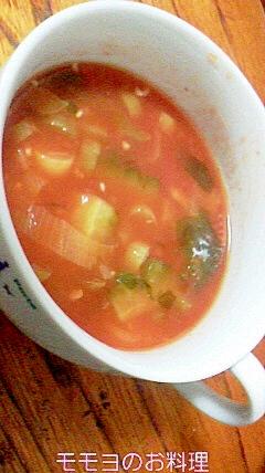 ありあわせのお野菜で健康トマトスープ