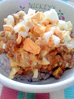 納豆の食べ方-ゆでたまご♪