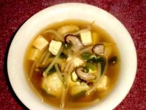 そば湯で作るすいとん入りスープ