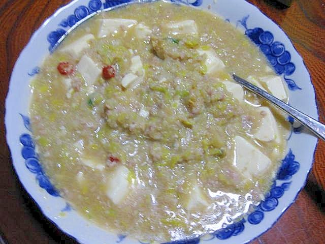 3. 餃子の具で白い麻婆豆腐