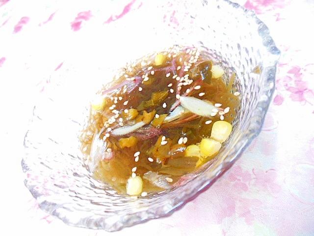 キューちゃんと茗荷とコーンともずくの小鉢