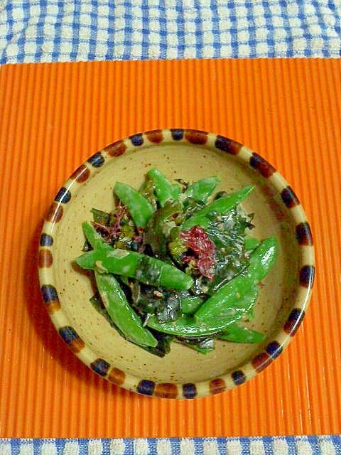 サヤエンドウと海藻のサラダ♪