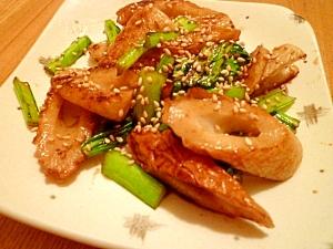 ちくわと小松菜の醤油炒め。