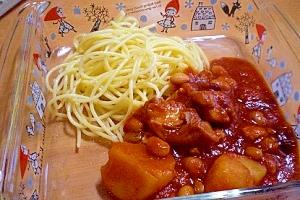 圧力鍋で!「鶏肉とジャガイモのトマト煮込みパスタ」