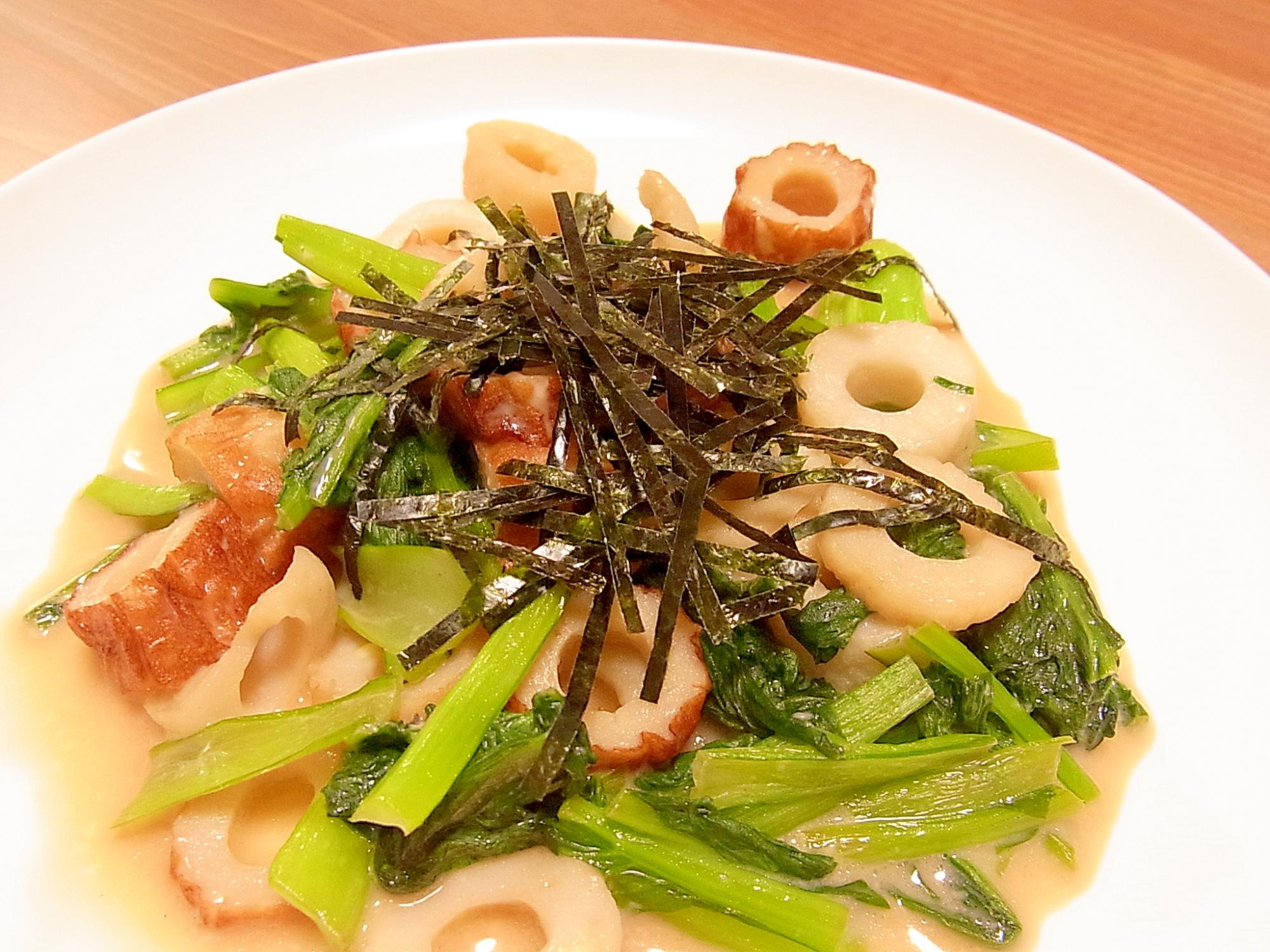 かんたん副菜★小松菜とちくわのマヨぽん炒め