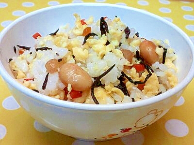 【離乳食】ひじき煮&いりたまごの混ぜご飯