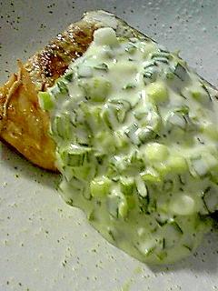 鯖のワサビソース