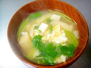 豆腐とみつば、卵のお味噌汁