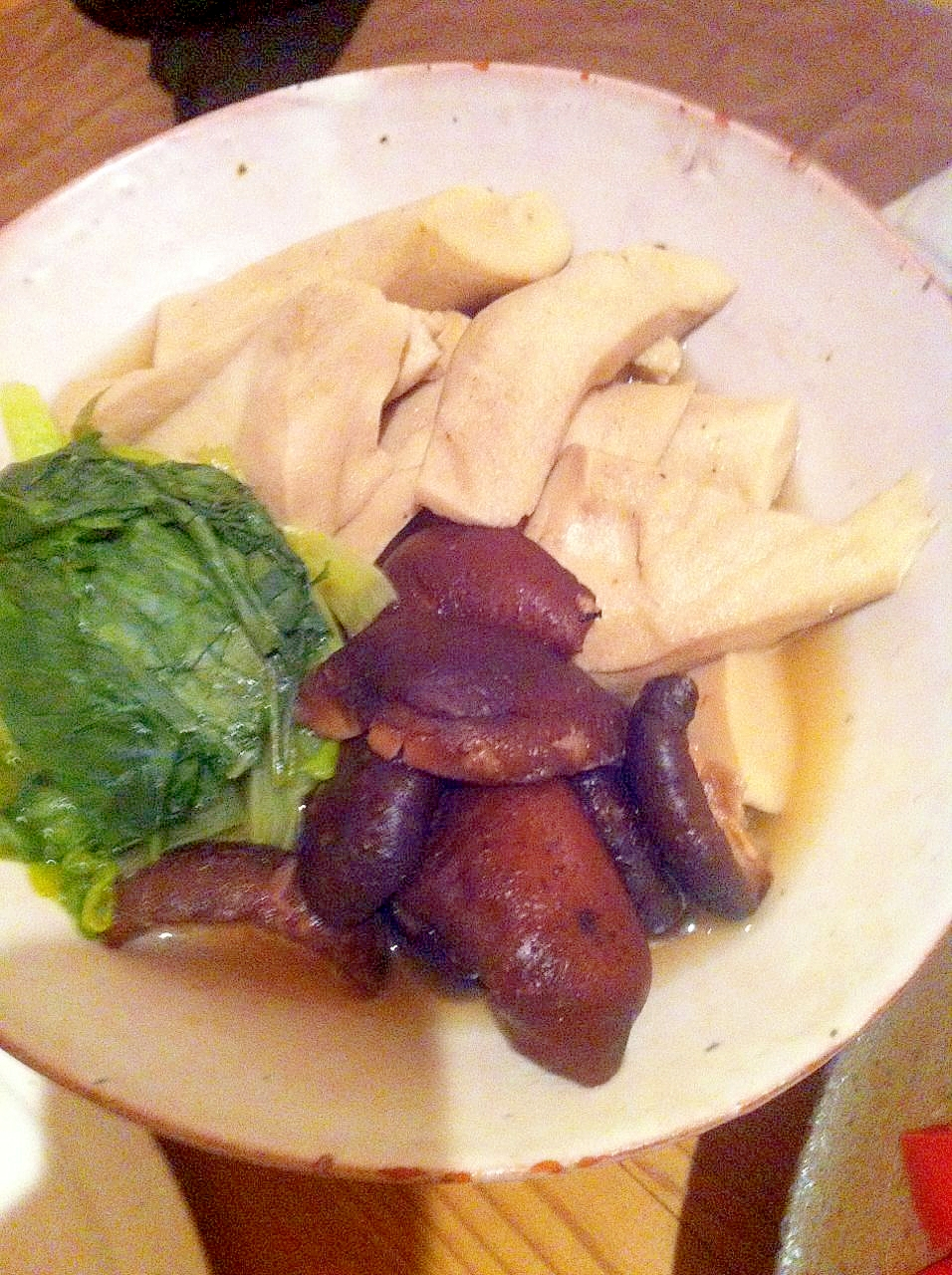 高野豆腐、干し椎茸、小松菜の炊いたん