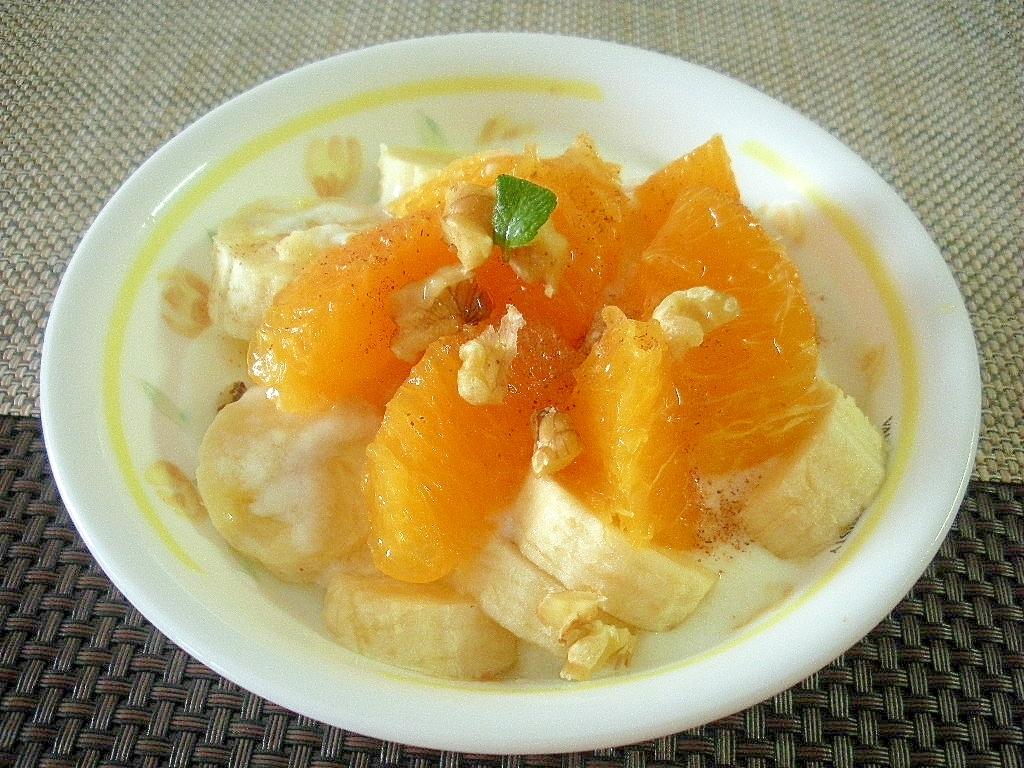 お夜食に!オレンジとバナナのシナモンヨーグルト♪