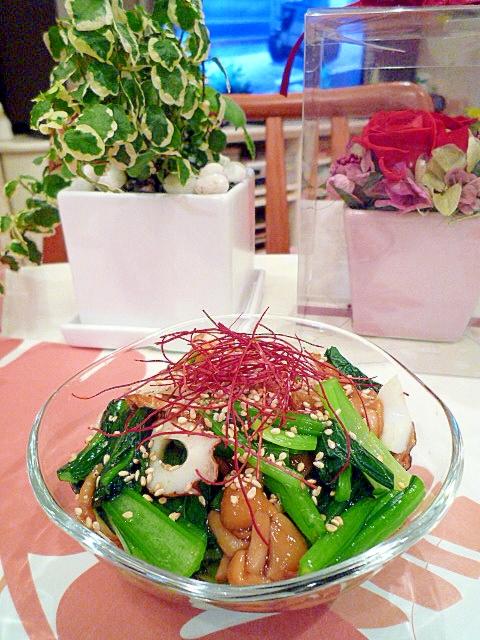 4. 小松菜となめこと竹輪のおひたし