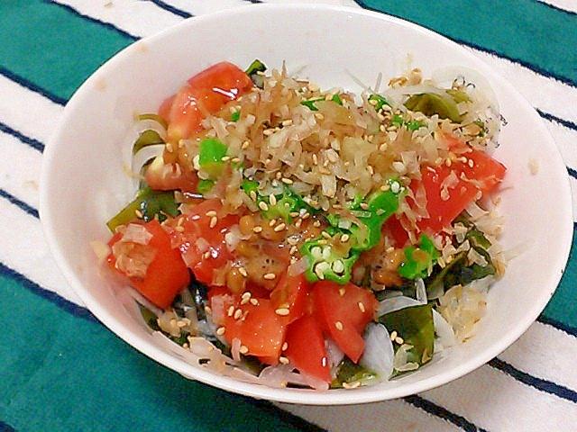 ポン酢でさっぱり!梅納豆ヘルシーサラダ