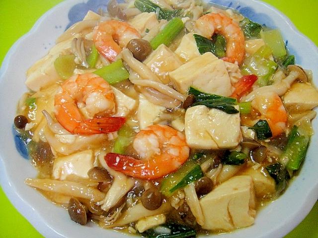 豆腐ときのこエビの中華風うま煮