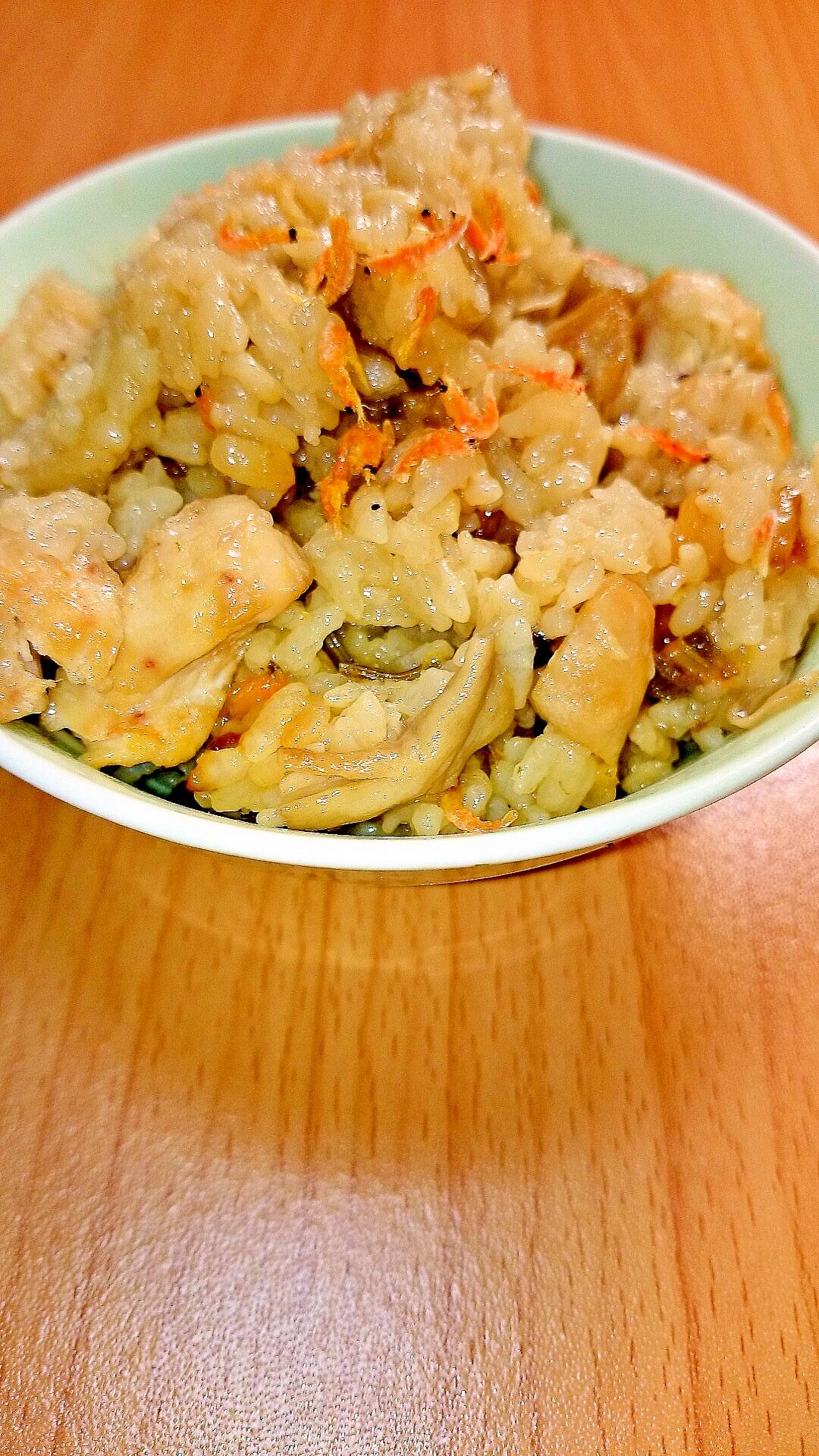 干しエビと鶏肉の炊き込みご飯