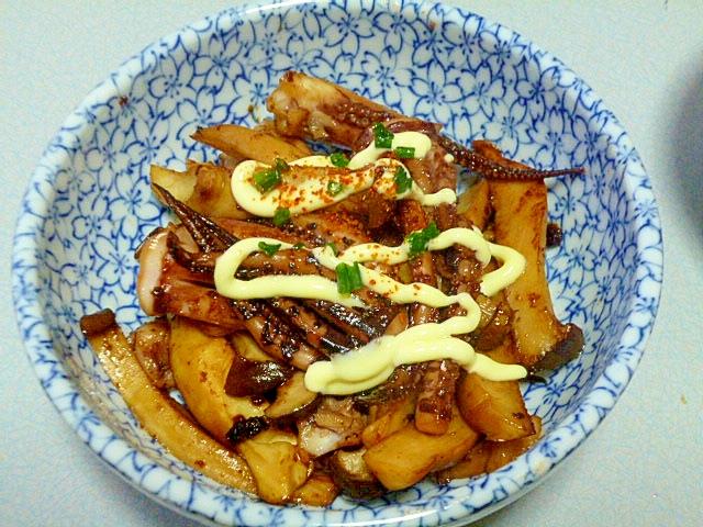 簡単♪おつまみ♪イカゲソとエリンギのピリ辛マヨ炒め レシピ・作り方