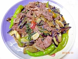 牛肉のタイ風バジル炒め