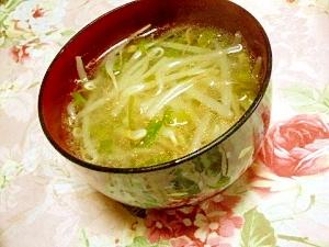 どんこの戻し汁de中華味のモヤシとお葱のスープ
