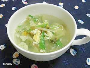 ザーサイと絹さやの玉子スープ