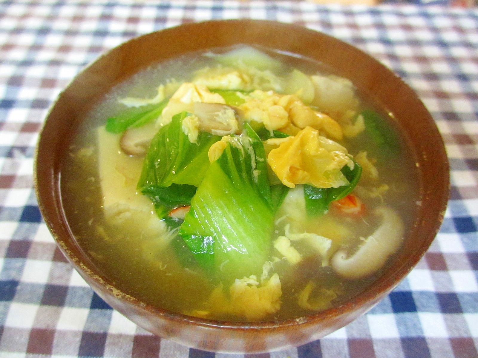 えびとタケノコ、具沢山卵スープ